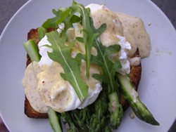Local Mission's jumbo asparagus open-face sandwich with slow-poached egg and Meyer lemon mousseline. - JOHN BIRDSALL