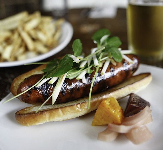 Locavore's maple andouille sausage with honey Treviso, $7. - JOHN BIRDSALL