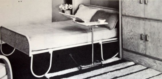Look at this minimalist business. - PRESS BED EXHIBITED AT THE PARIS EXPOSITION, 1957. COURTESY COOPER UNION MUSEUM LIBRARY, NEW YORK, AND MUSEUM OF CONTEMPORARY CRAFTS OF THE AMERICAN CRAFTSMEN'S COUNCIL, NEW YORK