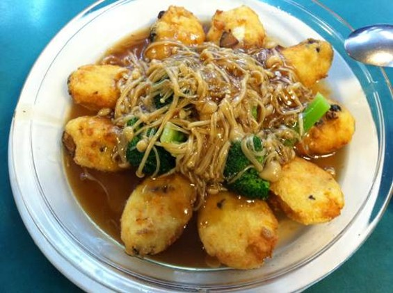 Lucky Creation's spoon tofu with mushrooms. - JONATHAN KAUFFMAN