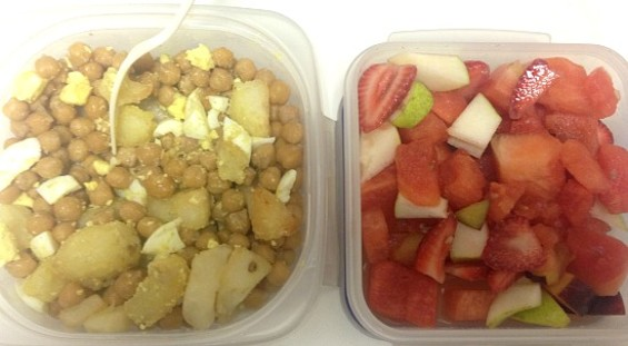 Lunch today: curried chickpeas and potatoes with hardboiled egg, fruit salad. Not bad. - ANNA ROTH