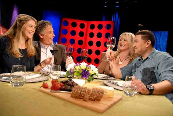 Lyrics Born (right) makes a toast on Check, Please! - WENDY GOODFRIEND/KQED