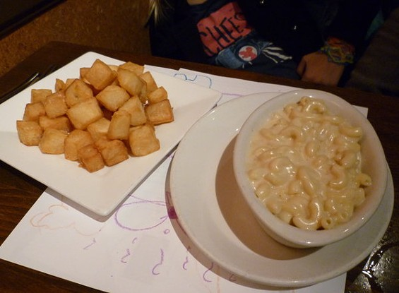 Mac 'n' cheese and off-menu home fries, spared the seasoning or garnishes kids might find yucky. - ALEX HOCHMAN