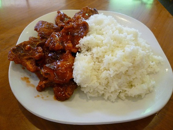 "Mandarin pork spareribs plate, with built-in ""dessert."" - ALEX HOCHMAN"