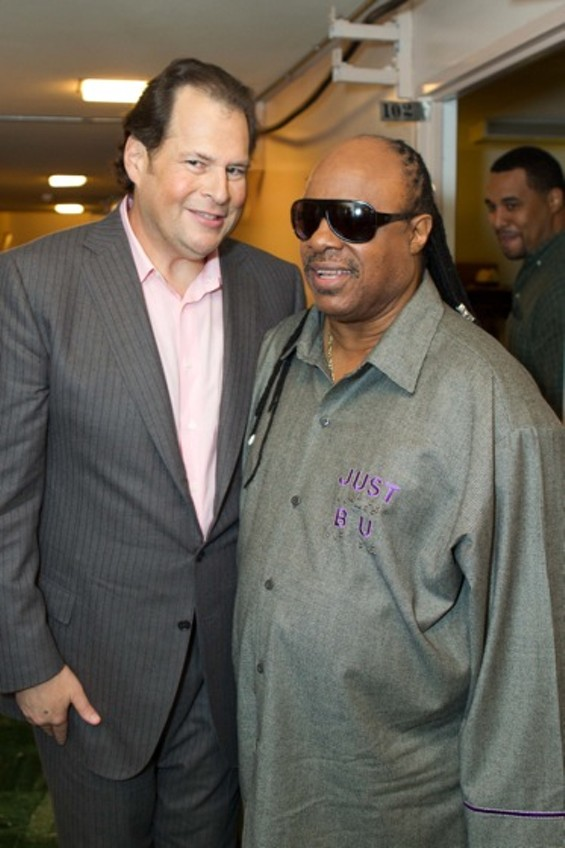 Marc Benioff and Stevie Wonder