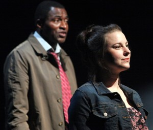 "Marissa Keltie (foreground) and Carl Lumbly in the first American production of Mark O'Rowe's ""Terminus"" at Magic Theatre. - PHOTO: JENNIFER REILEY"