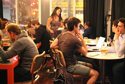 LARA HATA - Mark Bright and Kris Esqueda's Vinyl Wine Bar comes out only at night.