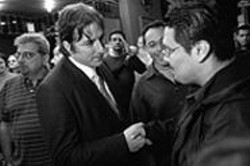 PAOLO  VESCIA - Matt Gonzalez greets well-wishers outside the Victoria - Theatre on 16th Street following a mayoral debate.
