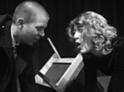 DAVID  HALL - Matt Leshinskie as Jack and Heidi Wolff as - Judy in Howard Brenton's Sore - Throats.
