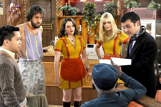 Matthew Moy (from left to right), Jonathan Kite, Kat Dennings, Beth Behrs, and Garrett Morris (seated) talk to director Fred Savage. - DARREN MICHAELS/WARNER BROS.