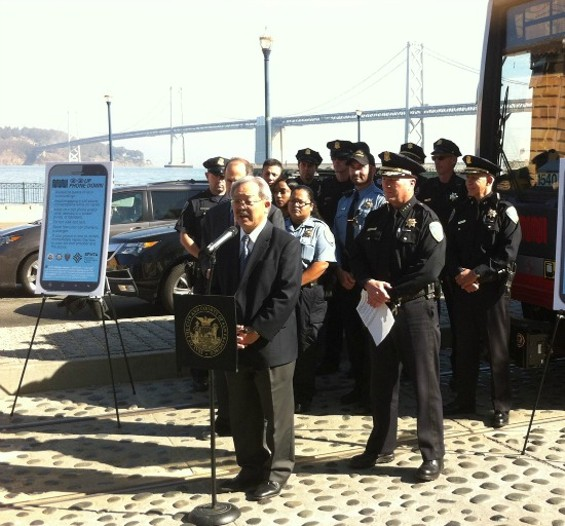 "Mayor Edwin M. Lee announces ""Eyes Up, Phones Down"" at a press conference Thursday. - JONATHAN RAMOS"