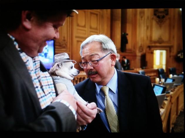 Mayor meets lapdog. - MIKE KOOZMIN
