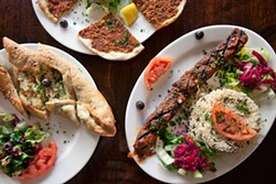LARA HATA - Meat-and-cheese-filled pies, along with kebabs, fill the menu.