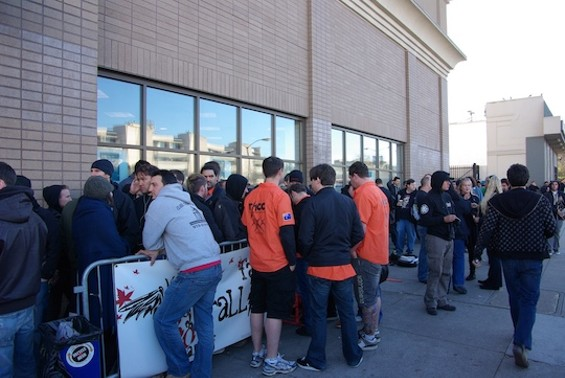 Metallica fans lined up outside the Fillmore on Monday afternoon.