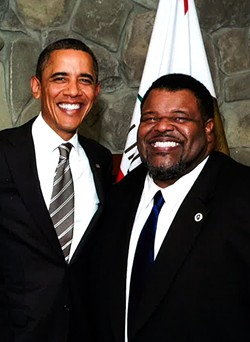 Michael Moore pictured with President Obama, who, incidentally also likes meat