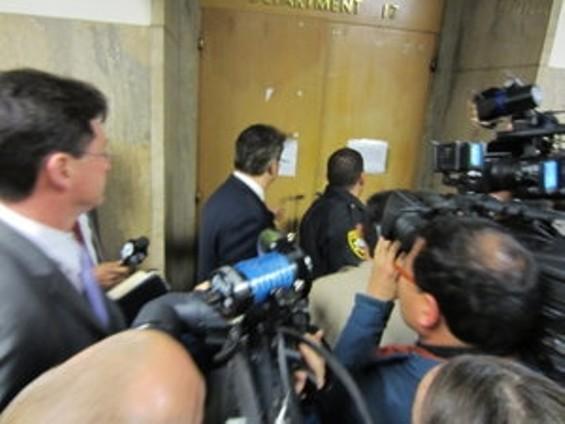 Mirkarimi dodging the press.