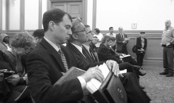 Mirkarimi is flanked by his lawyers Shepard Kopp (near) and David Waggoner - JOE ESKENAZI