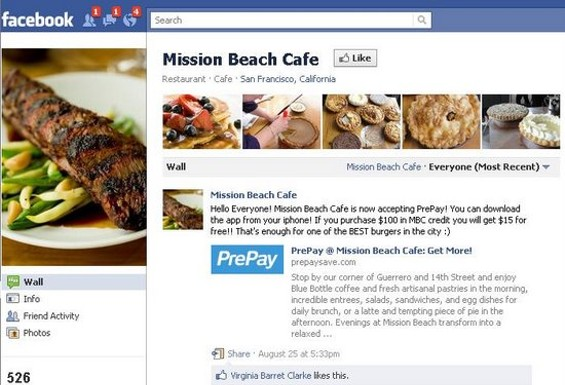 Mission Beach Cafe's Facebook page