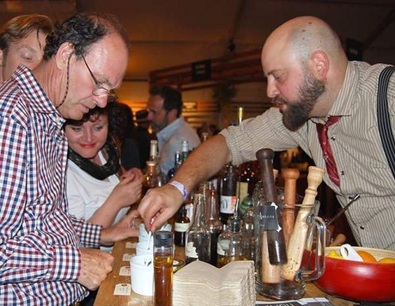 Mixologist Neyah White (right) laying it down at last year's festival. - SFCHEFS.FOOD.WINE
