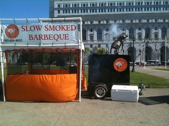 Mobile BBQ maker Cochon Volant has appeared twice before at World Cup parties in Civic Center. - ROB LARMAN