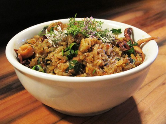 Monterey Bay squid and pork fried rice - LOU BUSTAMANTE