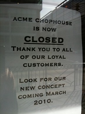 More than the Acme sign is getting split.