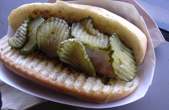 Mortadella hot dog with house-made pickles and mustard ($7). - JOHN BIRDSALL