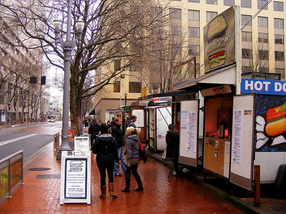 "Most of Portland's food carts group together in ""pods."" - THE COURTYARD/FLICKR"