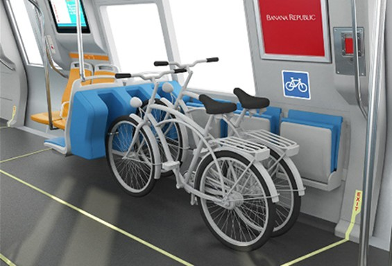 Most recent rendering of bike racks planned for BART cars. - BART
