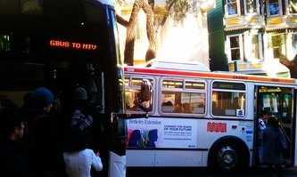 Muni being crowded out by a corporate shuttle.