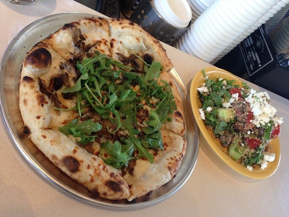 Mushroom Pizza and Grain Salad at Transit Café - TREVOR FELCH
