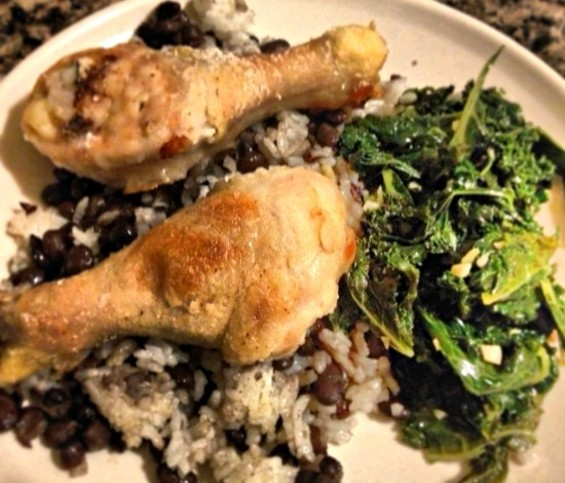 My dinner last night: Roasted chicken legs, sauteed kale, beans and rice. - ANNA ROTH