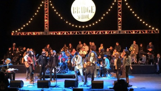 Neil Young and My Morning Jacket at Bridge School on Sunday. - YOUTUBE