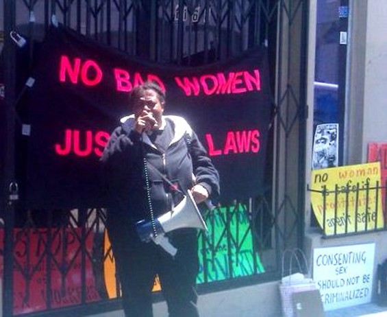 Nell Myhand of Legal Action for Woman addresses the gathered prostitutes - LOIS BECKETT