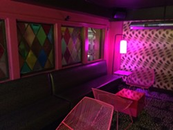 "The upstairs Leopard Lounge embodies the design concept of ""power clashing."" - PETE KANE"