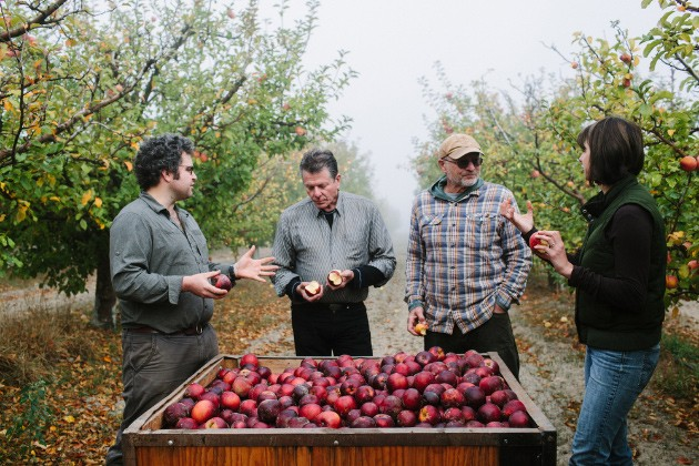 (L to R) Devoto Cider President Hunter Wade, cider maker Rick Davis, apple farmer Stan Devoto, and co-owner/marking/R&D/everything else cider related Jolie Devoto-Wade - KIMBERLEY HASSLEBRINK