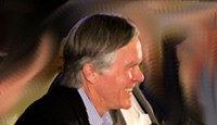 New York Times' editor Bill Keller laughs during War On Wikileaks panel. - MATT SMITH