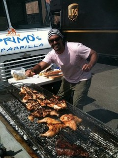 Nice grill: Javier Sandes and his mobile barbecue. - PRIMO'S PARRILLA