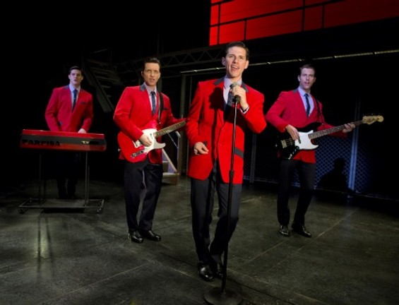 """Nick Cosgrove as Frankie Valli serenades the crowd with """"Sherry"""""""