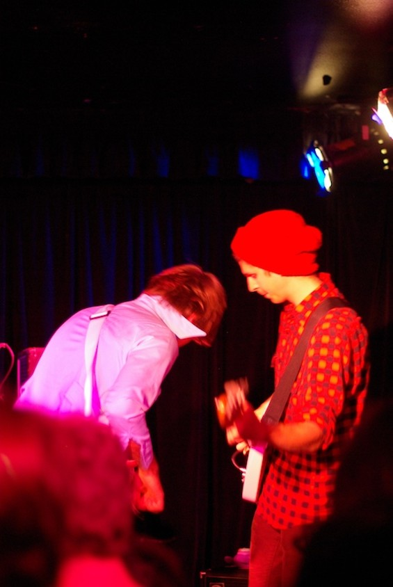 Nick Thorburn and Michael Cera at Cafe Du Nord last night. Pics by Ian, with apologies for backs of heads.