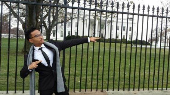 Nicu Listana, co-creator of new game Founder's Quest, strikes a pose in D.C.