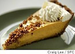 No-Bake Pumpkin Pie With Gingersnap-Hazelnut Crust & Gingered Whipped Cream. - CRAIG LEE