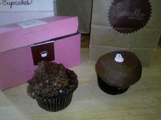 No contest: Kara's Chocolate Velvet (left) and Sprinkles' Dark Chocolate. - C. ALBURGER