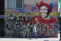 PHOTOGRAPH BY CAMILA BERNAL - Nobel laureate Wangari Maathai and some locals make up a tribute to the Lower Haight neighborhood.