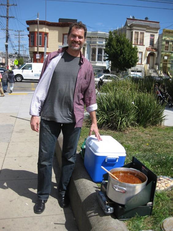 Nosh This owner Kai Kronfield, with chili pot. - LUIS CHONG