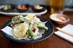 KIMBERLY SANDIE - Not a stray drop of oil on this tempura: fava beans, maitake mushrooms, and Meyer lemon slices.