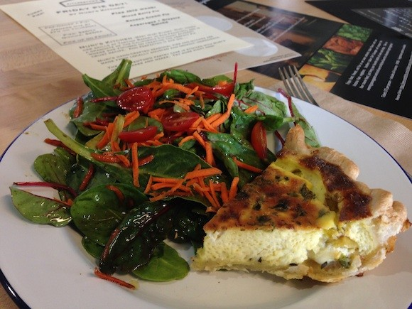 Nuri's Kitchen's Poblano Pepper, Feta & Gruyere Quiche at KitchenTown in San Mateo - TREVOR FELCH