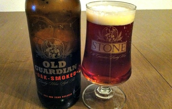 Oak Smoke Old Guardian beer from Stone Brewing. - JASON HENRY