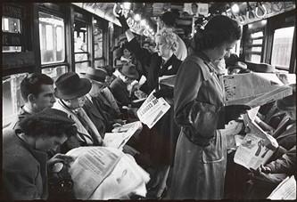 Oblivious passengers in the postwar era... - STANLEY KUBRICK, LOOK MAGAZINE, 1946