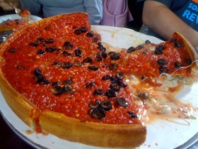 Oh, sweet Jesus: A sausage, olive, and pepper deep dish from Patxi's in Hayes Valley. - ALLENTOMDUDE/FLICKR